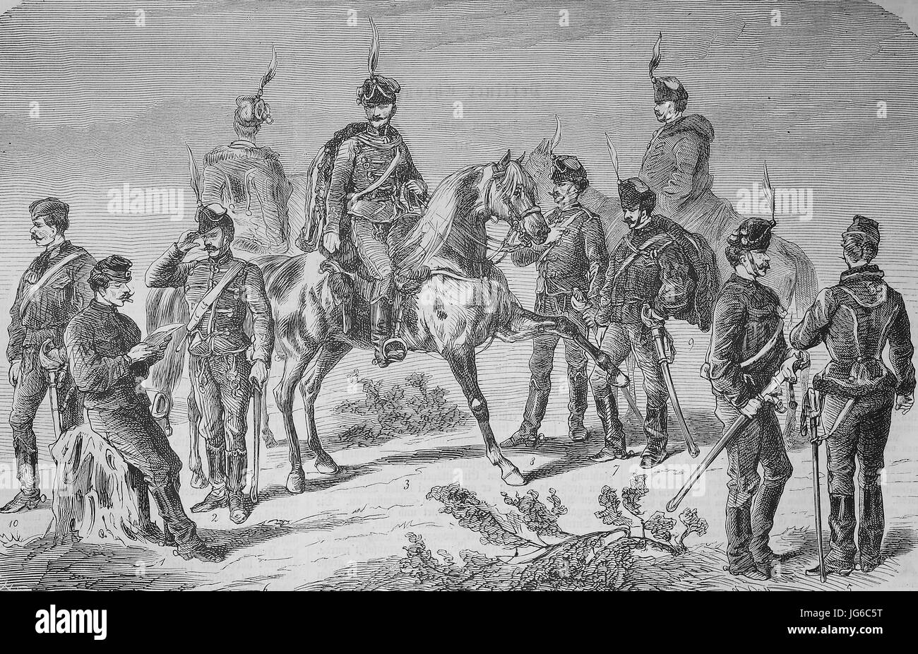 Digital improved:, Hussar, Hussars from Austria and Hungary, soldiers, cavalry, illustration from the 19th century Stock Photo