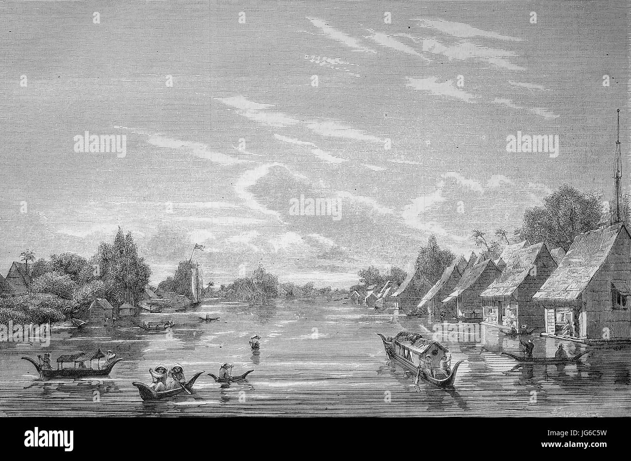 Digital improved:, the swimmung city of Banjer-Masing, Banjarmasin at Borneo, Indonesia, illustration from the 19th Stock Photo