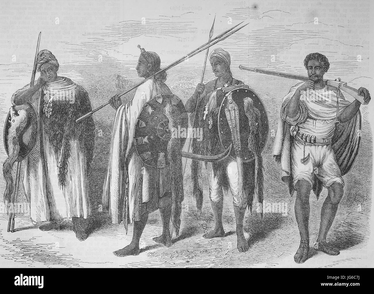 Digital improved:, Warriors from Abyssinia, Ethiopian Empire, Ethiopia, illustration from the 19th century Stock Photo