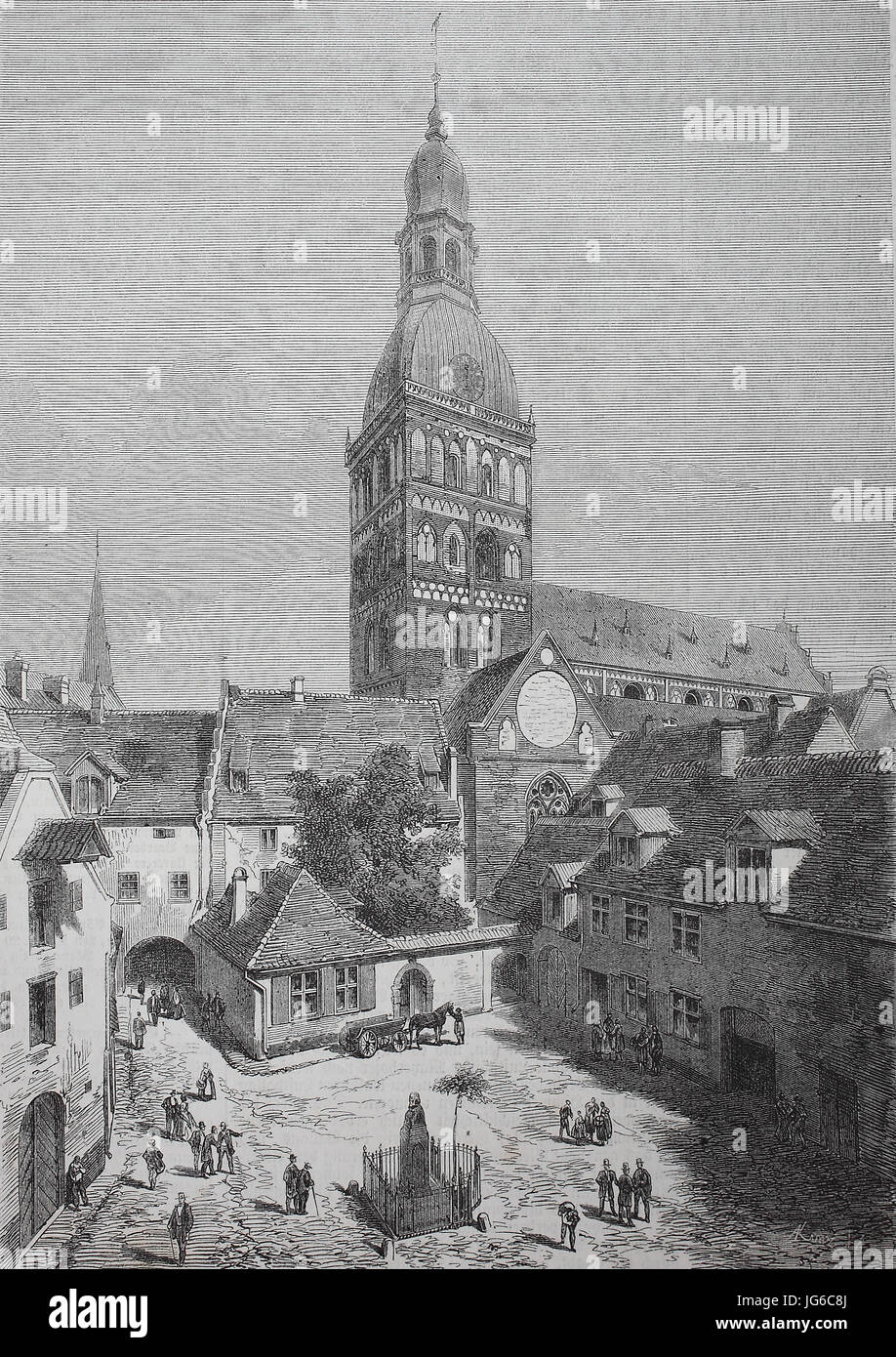 Digital improved:, city of Riga, Latvia, the Herder square and the old townhall, illustration from the 19th century - Stock Image