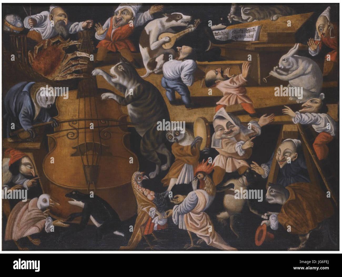 Maestro della Fertilità dell'Uovo - A concert of animals, birds and stylised figures - Stock Image