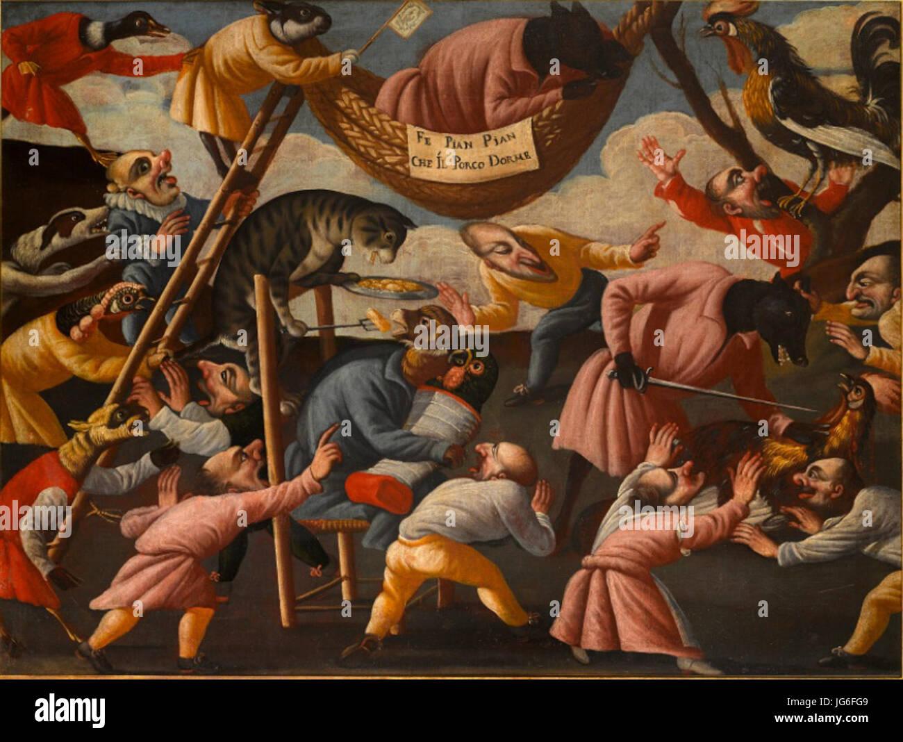 Maestro della Fertilità dell'Uovo - Grotesque Scene with Animals and Stylised Figures No. 3 - Stock Image