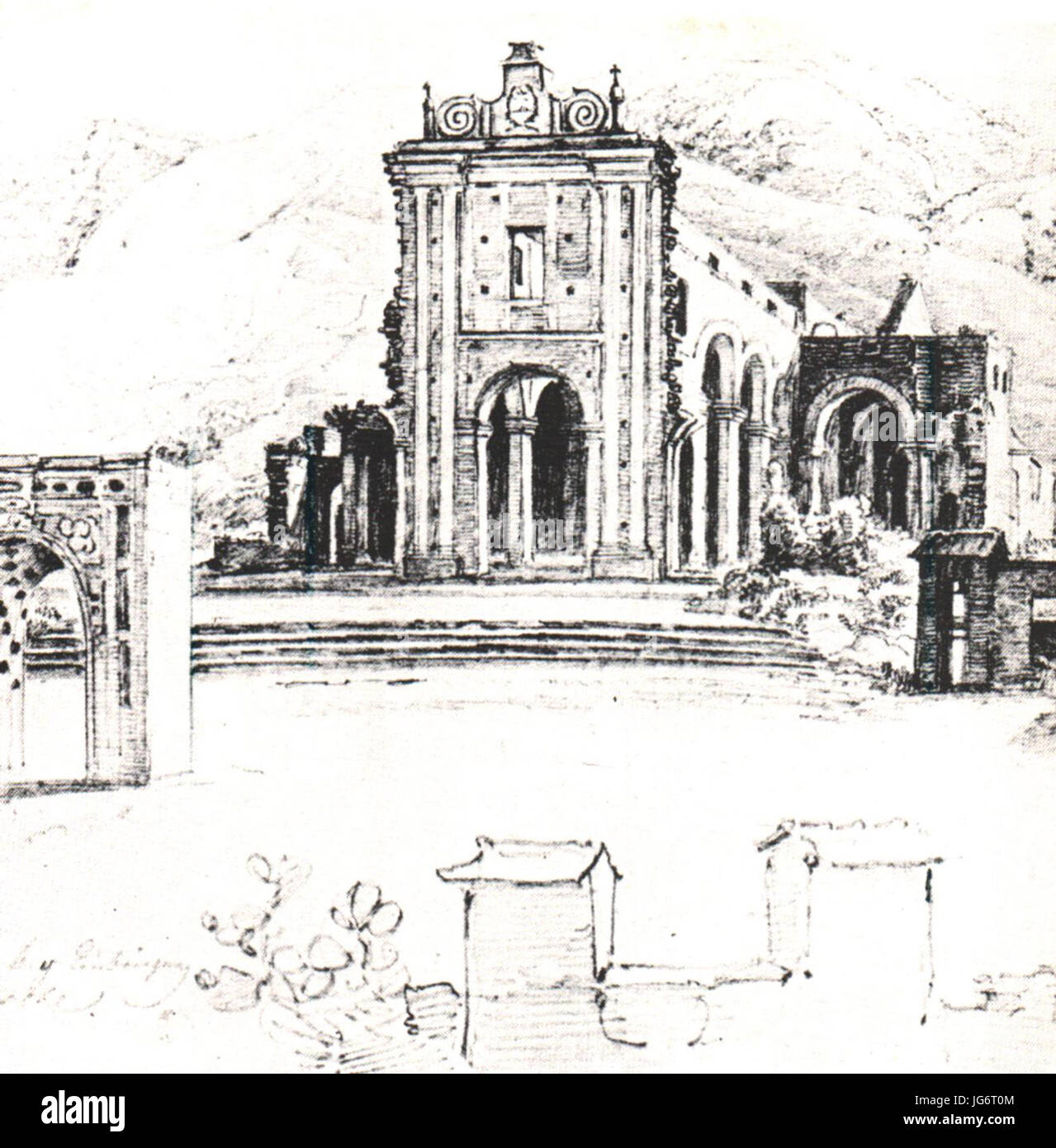 Ruinas de la iglesia de la Santísima Trinidad en Caracas - Ferdinand Bellermann Stock Photo