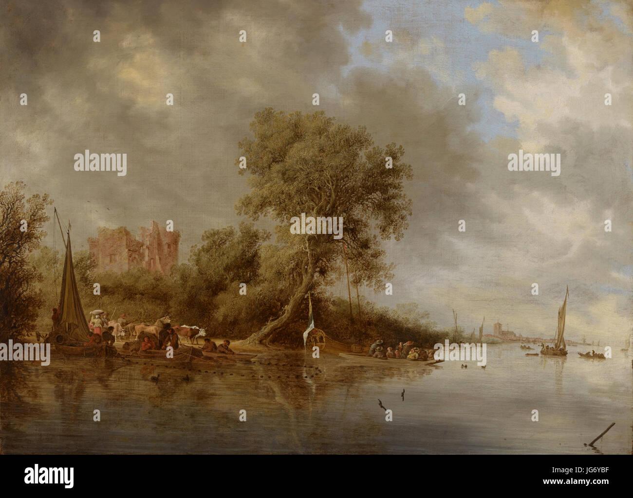 Salomon Jacobsz. van Ruysdael (1600-1603-1670)- River Landscape with the Ruins of the Castle of Egmond - Jokimaisema, Egmondin linnan raunio - Flodlandskap, slottet Egmonds ruiner (28845490893) Stock Photo