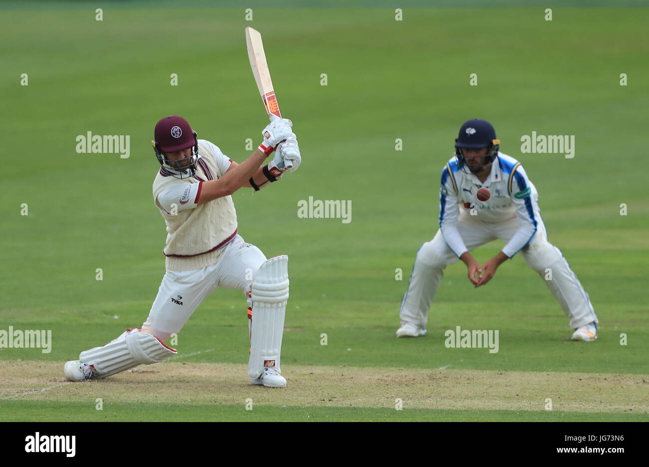 Somerset's Tim Groenewald during the Specsavers County Championship, Division One match at the North Marine - Stock Image