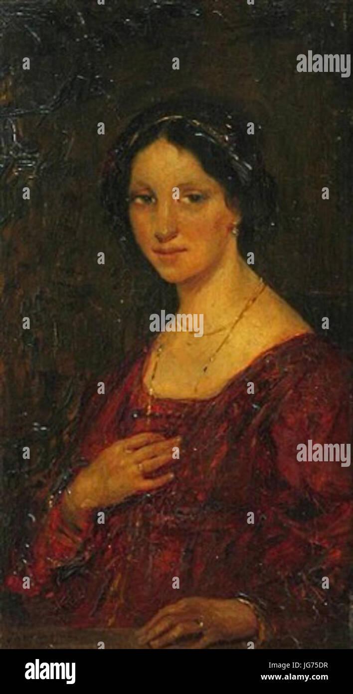 bbee726e8a3e11 Simon Maris Portret van een vrouw in een rode jurk - Stock Image