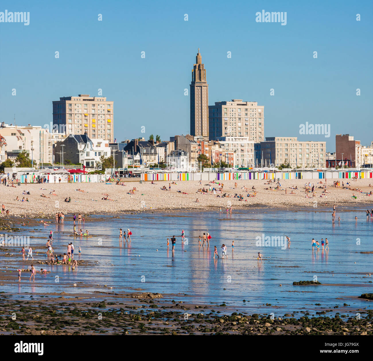 Beach, Low Tide, Le Havre, Normandy, France - Stock Image