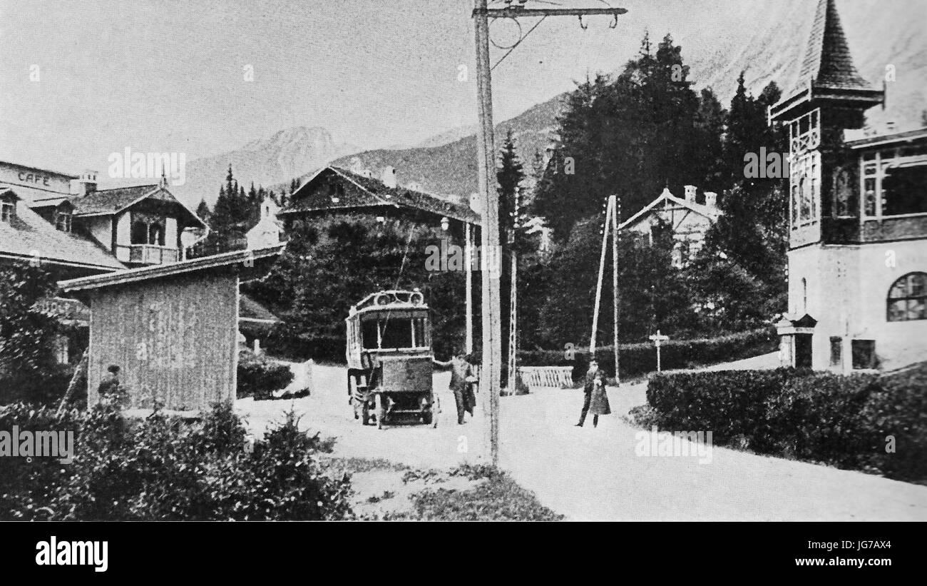 Starý Smokovec - cestný elektrobus 1904 Stock Photo