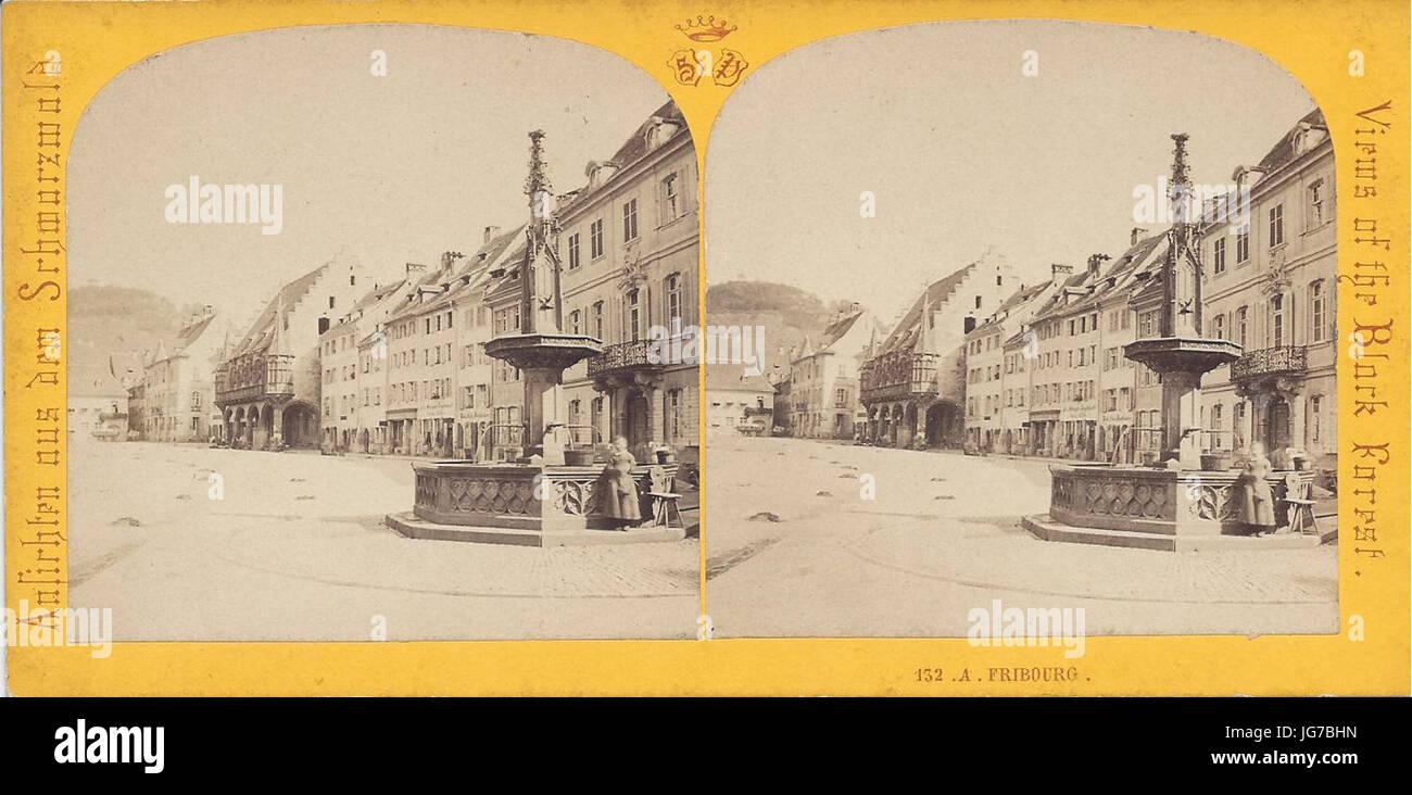 Stereoansicht Freiburg südlicher Münsterplatz 1867 Stock Photo