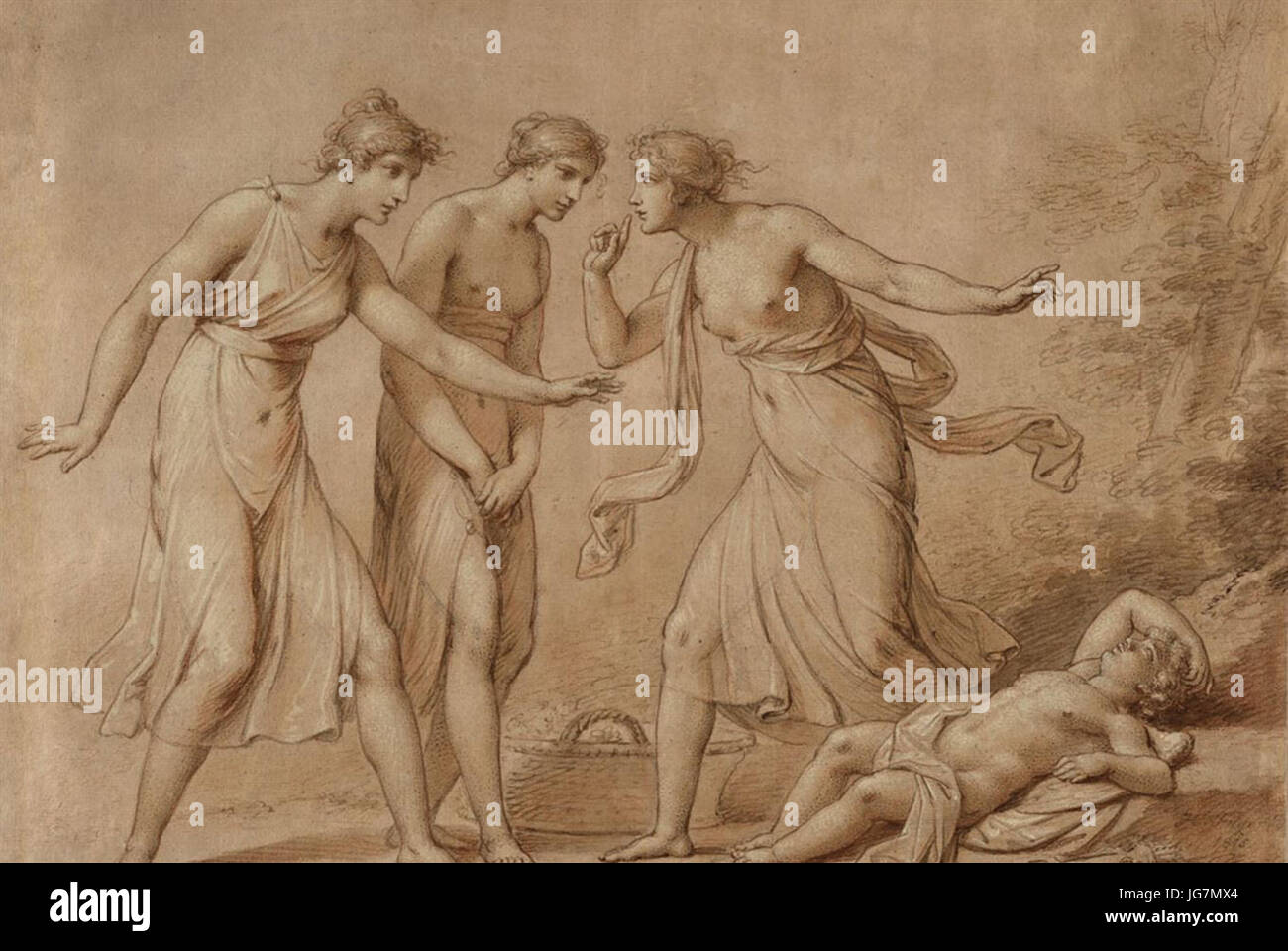 The Three Graces Find Amor by Heinrich Friedrich Füger, 1815, drawing Stock Photo