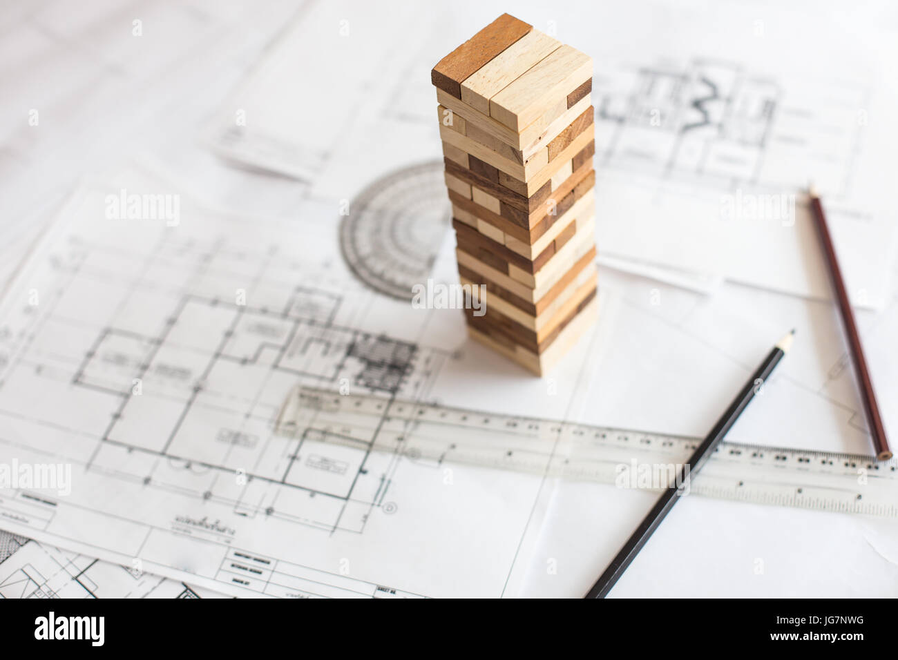 Blueprint wooden block tower planning risk and strategy in stock blueprint wooden block tower planning risk and strategy in business or architectural project malvernweather Image collections