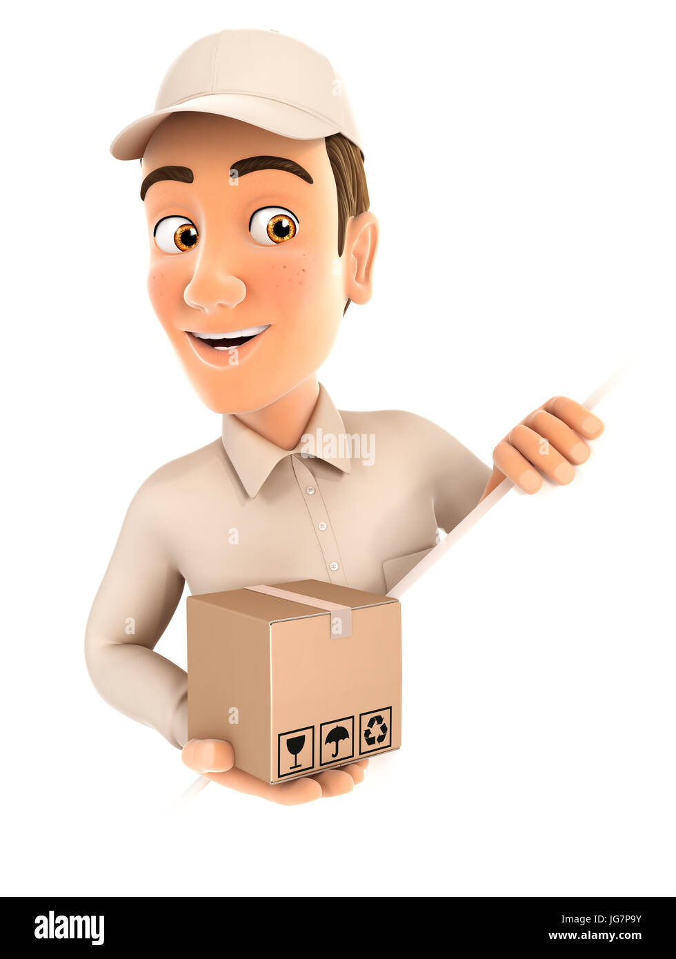 3d delivery man behind diagonal wall, illustration with isolated white background Stock Photo