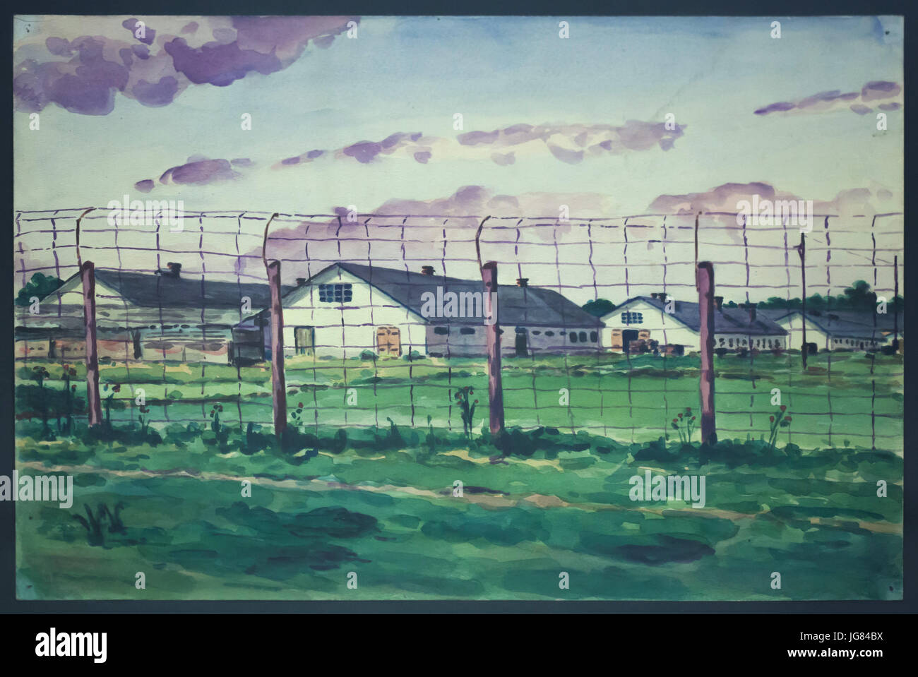 Barracks of the former Austro-Hungarian POW Camp Josefstadt depicted in the watercolour painting by Ukrainian painter Stock Photo