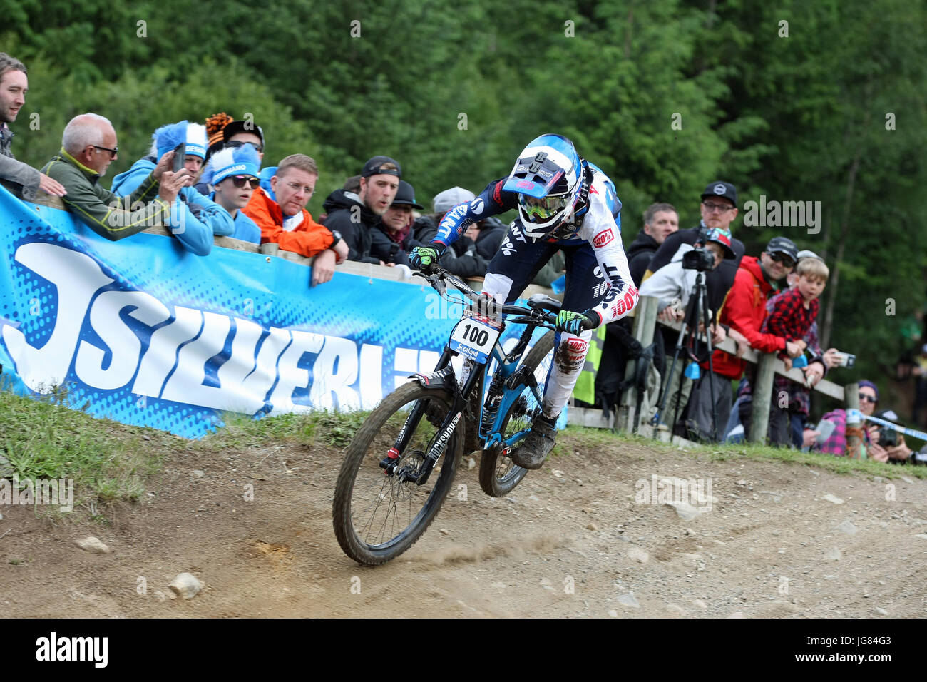 Fort William, Scotland. 4th June, 2017. Jacob Dickson at the Mountain Bike Downhill World Cup. - Stock Image