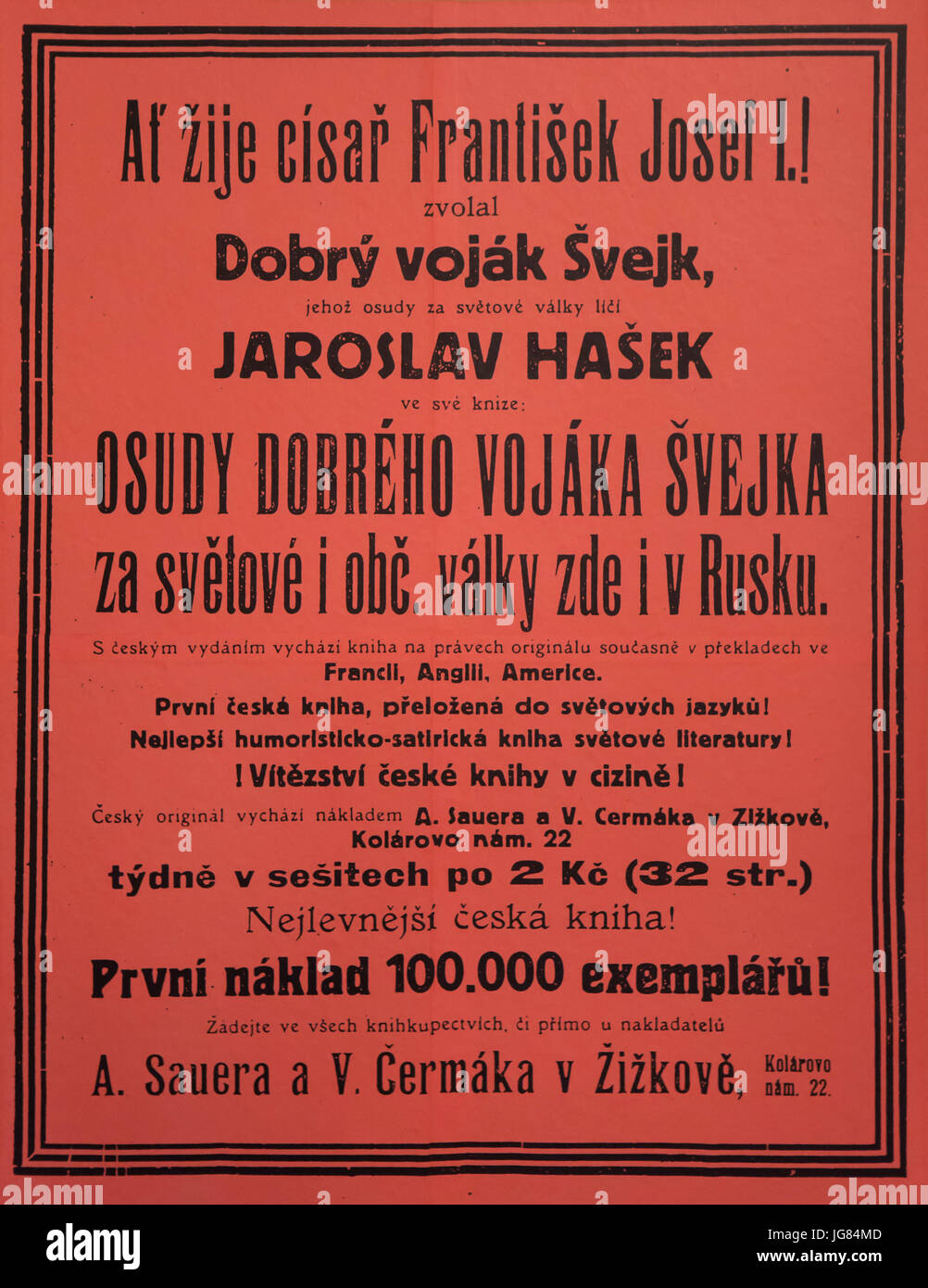 Promotional poster for the first edition of the satirical novel The Good Soldier Švejk by Czech novelist Jaroslav Stock Photo