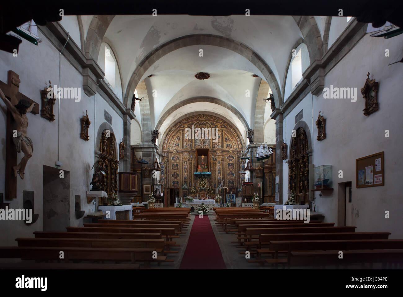 Interior of the Santuario de Nuestra Señora de la Barca (Sanctuary of Our Lady of the Barca) on the coast of - Stock Image