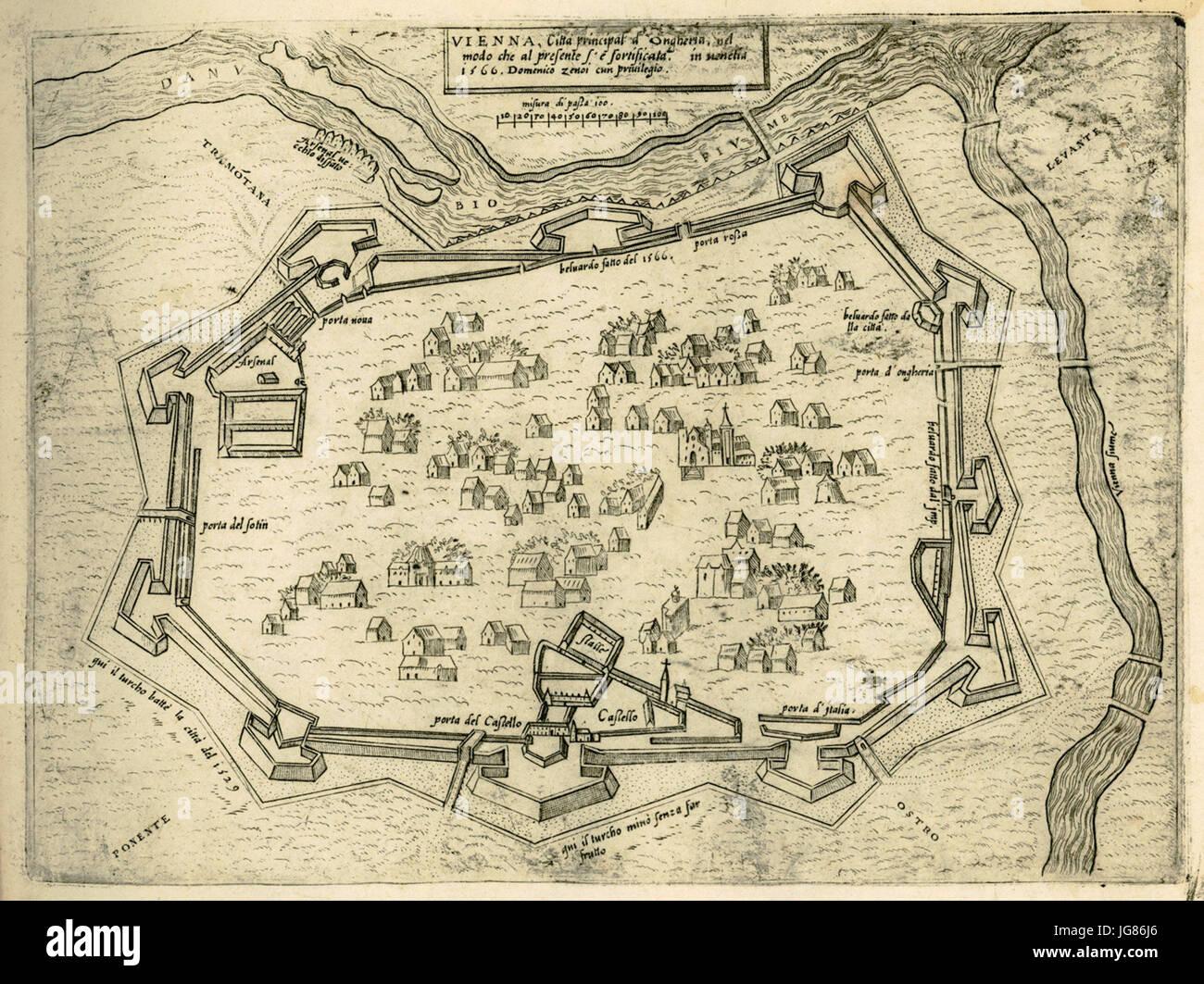 VIENNA, Città principal d' Ongheria, in modo che al presetne é fortificata - Camocio Giovanni Francesco - 1574 Stock Photo