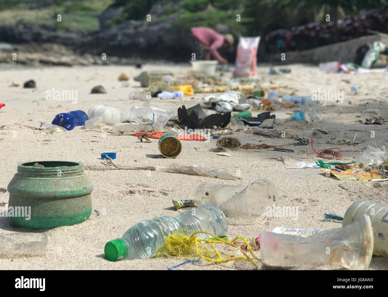 Plastic trash lying on a beach in Ko Sih Chang, an island in the Gulf of Thailand, 06 June 2017. The G20 summit - Stock Image