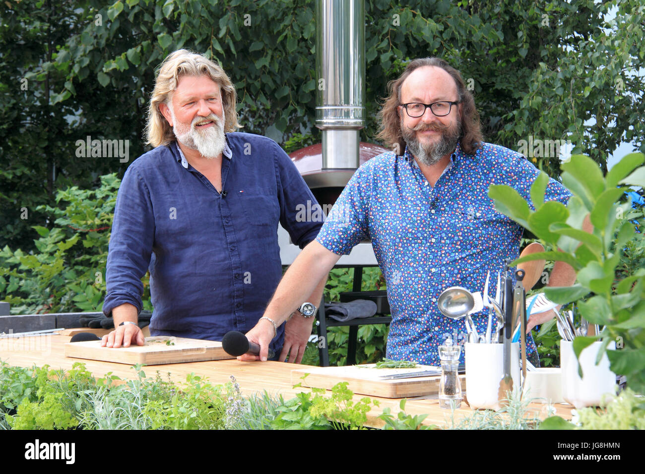 Hairy Bikers Si King and Dave Myers, 'Kitchen Garden Live'. Designed Juliet Sargeant. RHS Hampton Court - Stock Image