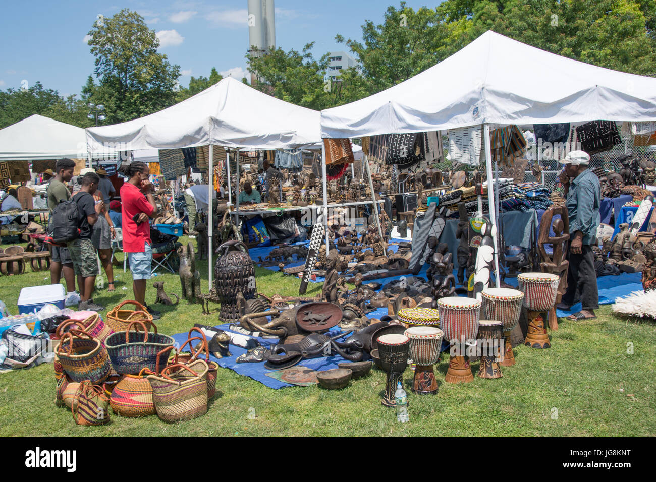 Brooklyn, USA. 4th July, 2017. A panoply of cultural products and artifacts on display under tents on the festival - Stock Image