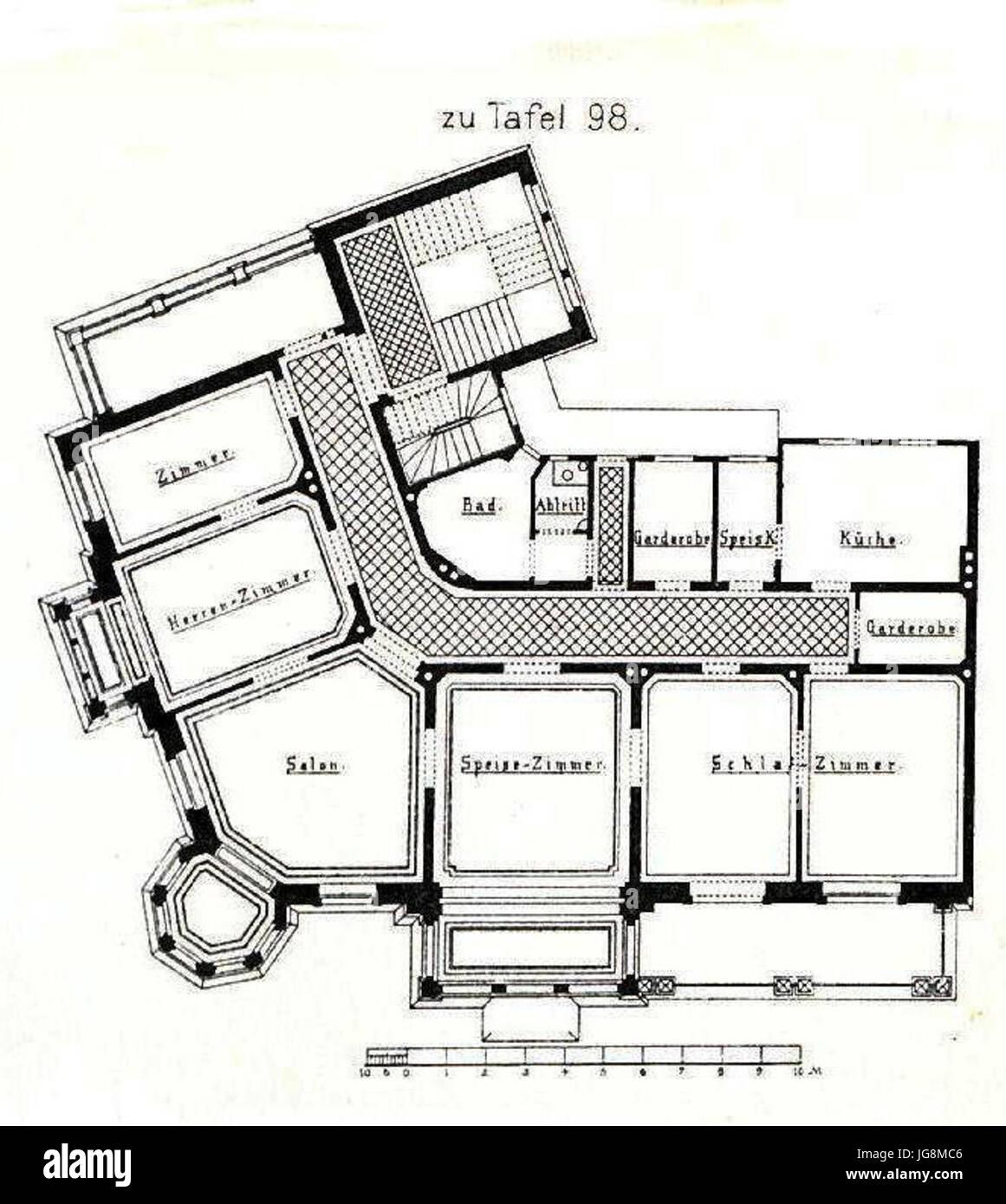 Villa Kaiserstrasse 71 Mainz Architekt G Peisker Aus Grundriss Tafel 98 Kick Jahrgang I