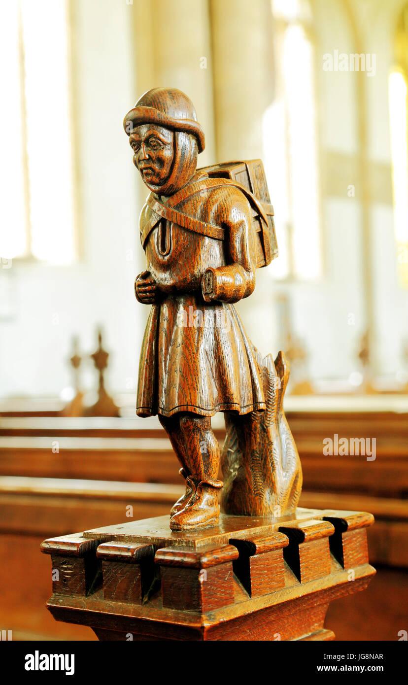 The Swaffham Pedlar, wood carving, Swaffham church, Norfolk, England, UK - Stock Image
