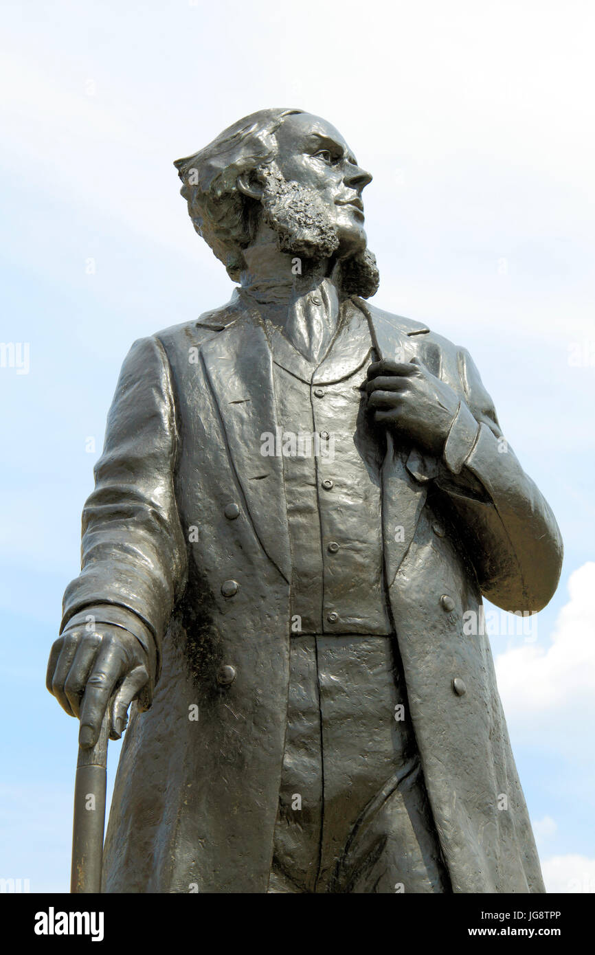 Statue,  Henry Styleman LeStrange, creator of the 19th century Hunstanton, seaside resort, Hunstanton, Norfolk, - Stock Image