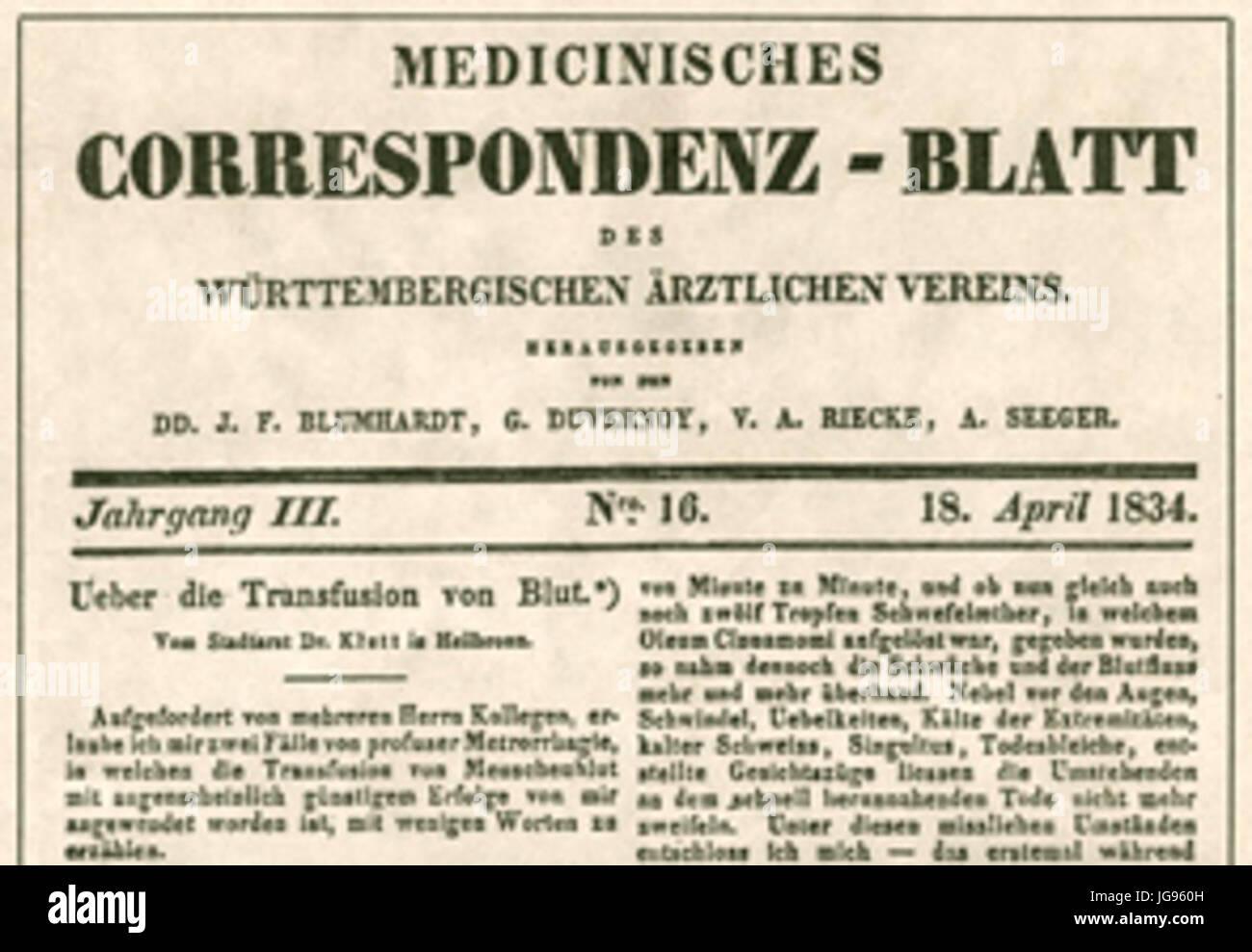 Medizinisches Korrespondenzblatt 1834 - Georg Klett vollzog die erste erfolgreiche Bluttransfusion auf deutschem Stock Photo
