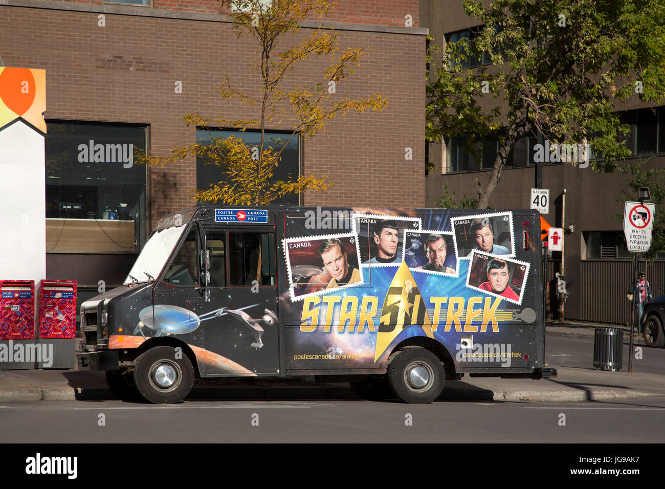 Star Trek characters depicted on a Canada Post van parked in Montreal, Canada. The truck advertises a special stamp - Stock Image