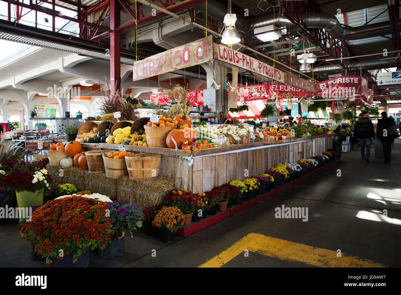 A greengrocer's stall at Jean-Talon Market in the Little Italy district of Montreal, Canada. - Stock Image