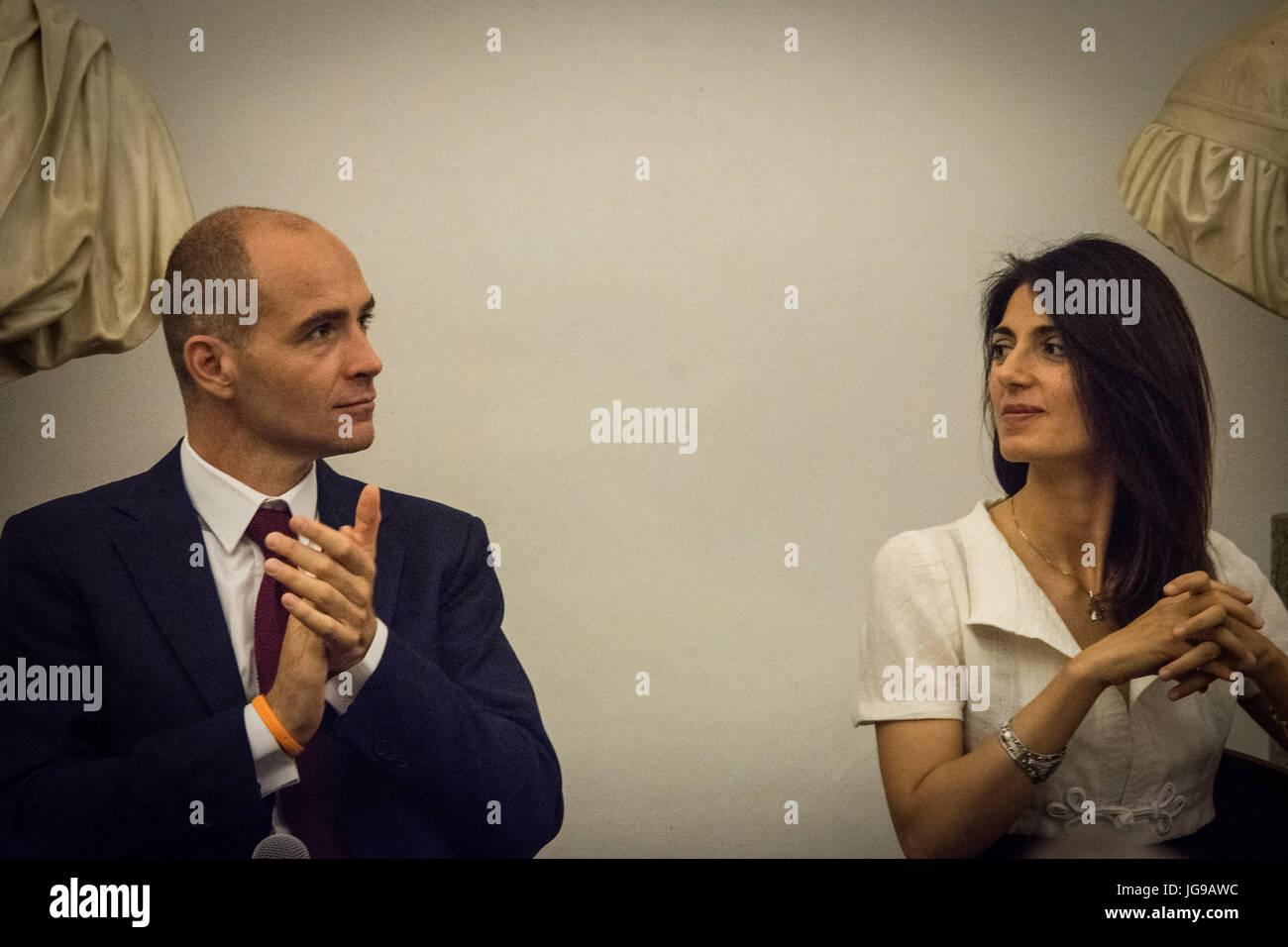 Rome, Italy. 03rd July, 2017. Mayor of Rome Virginia Raggi presentation to the press 'Rome Half Marathon Via - Stock Image