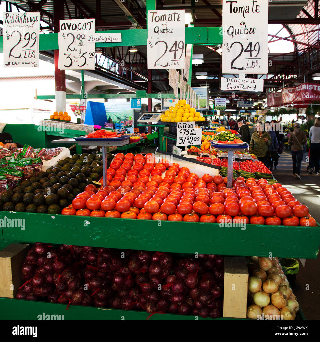 A greengrocer's stall at Jean-Talon Market in the Little Italy district of Montreal, Canada. The public market opened Stock Photo