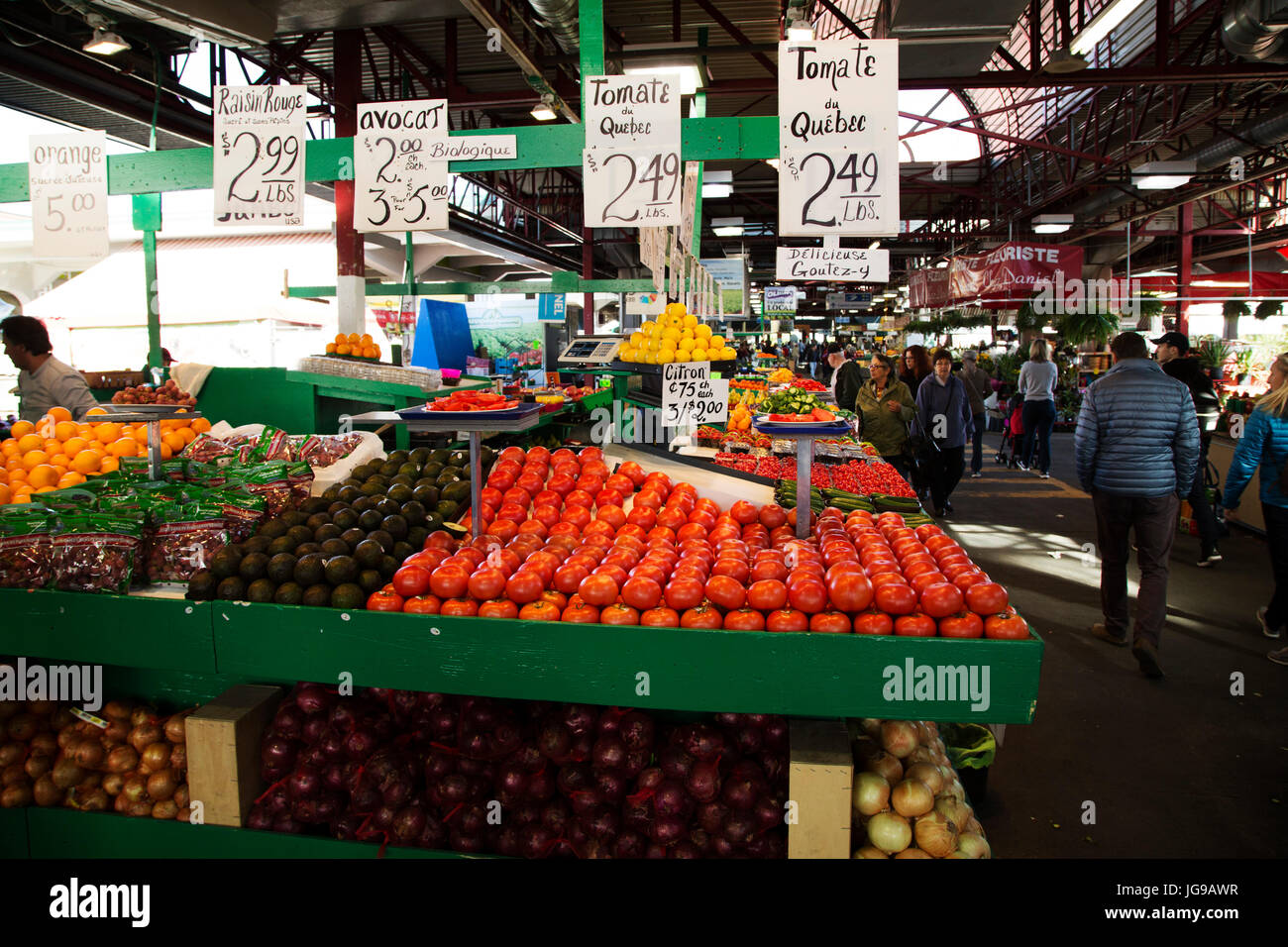 A greengrocer's stall at Jean-Talon Market in the Little Italy district of Montreal, Canada. The public market - Stock Image