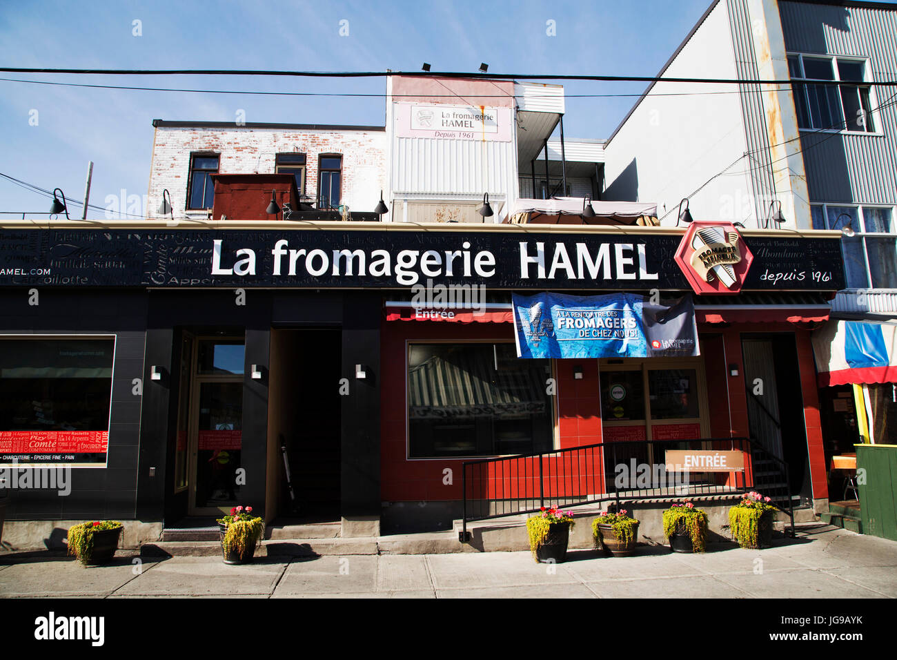 La Fromagerie Hamel at the Jean-Talon Market in the Little Italy district of Montreal, Canada. The store specialises - Stock Image