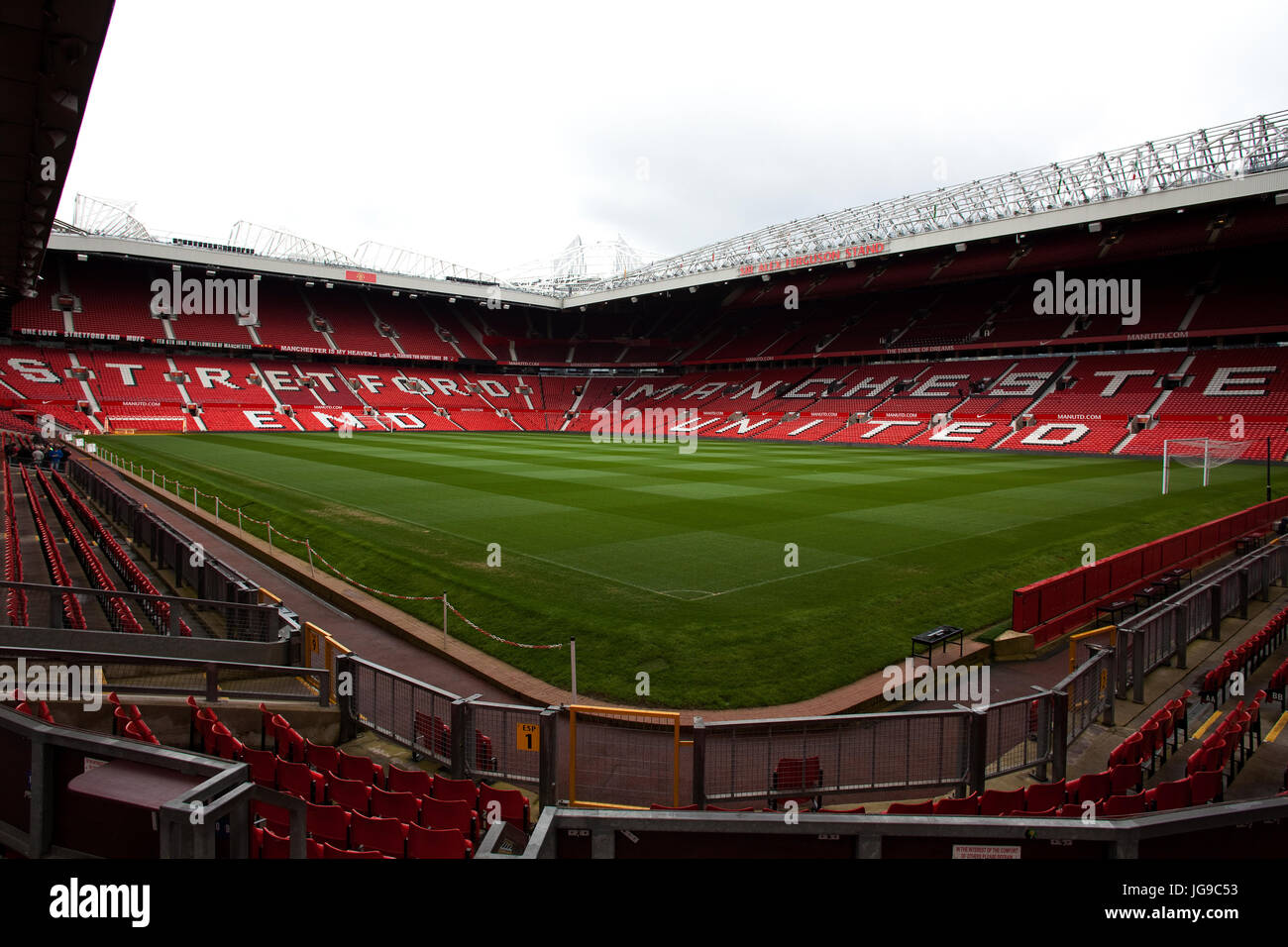 View inside Manchester United football stadium - Stock Image