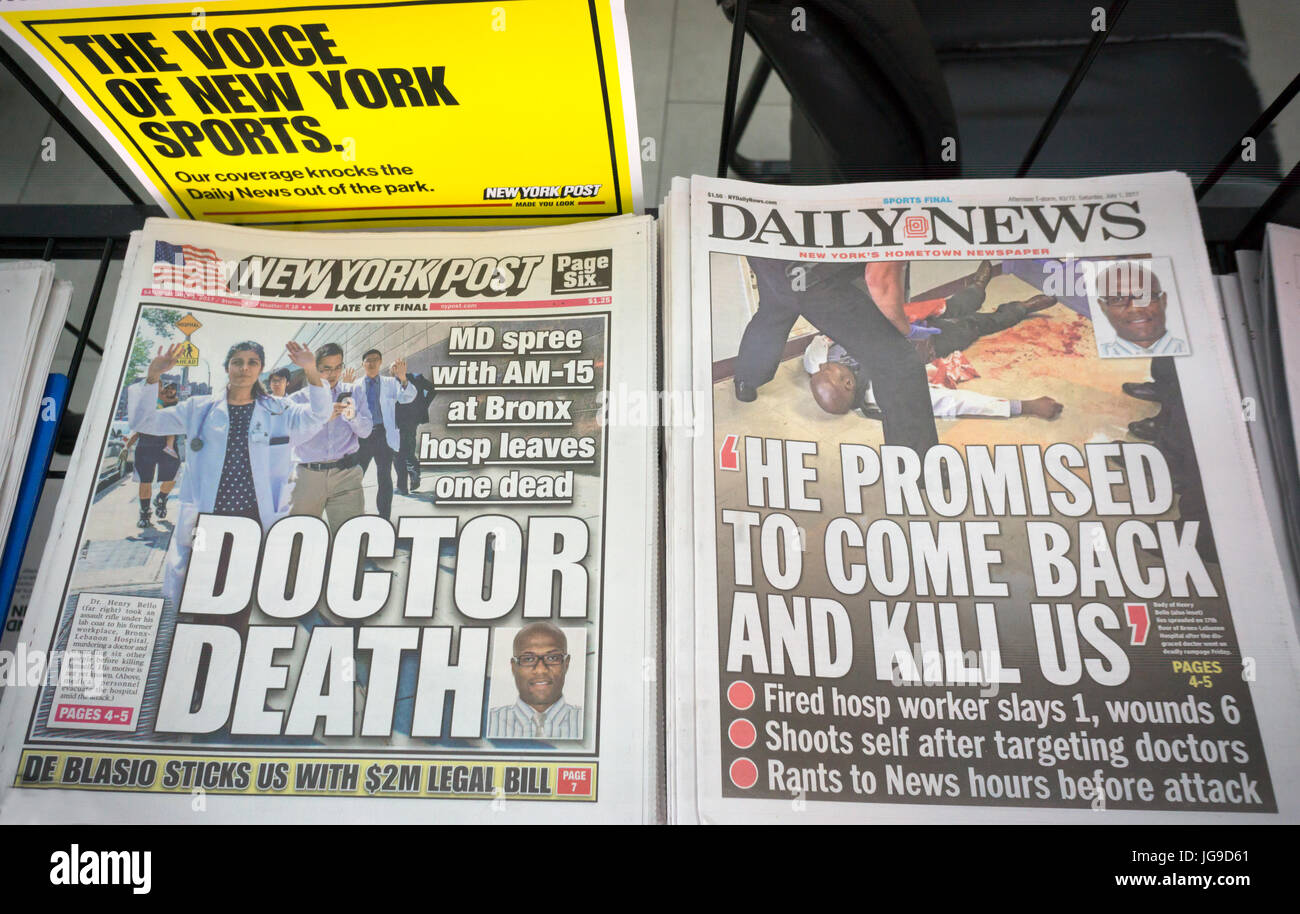 New York tabloid newspapers on Saturday July 1, 2017 report on the previous days shooting in Bronx Lebanon Hospital - Stock Image