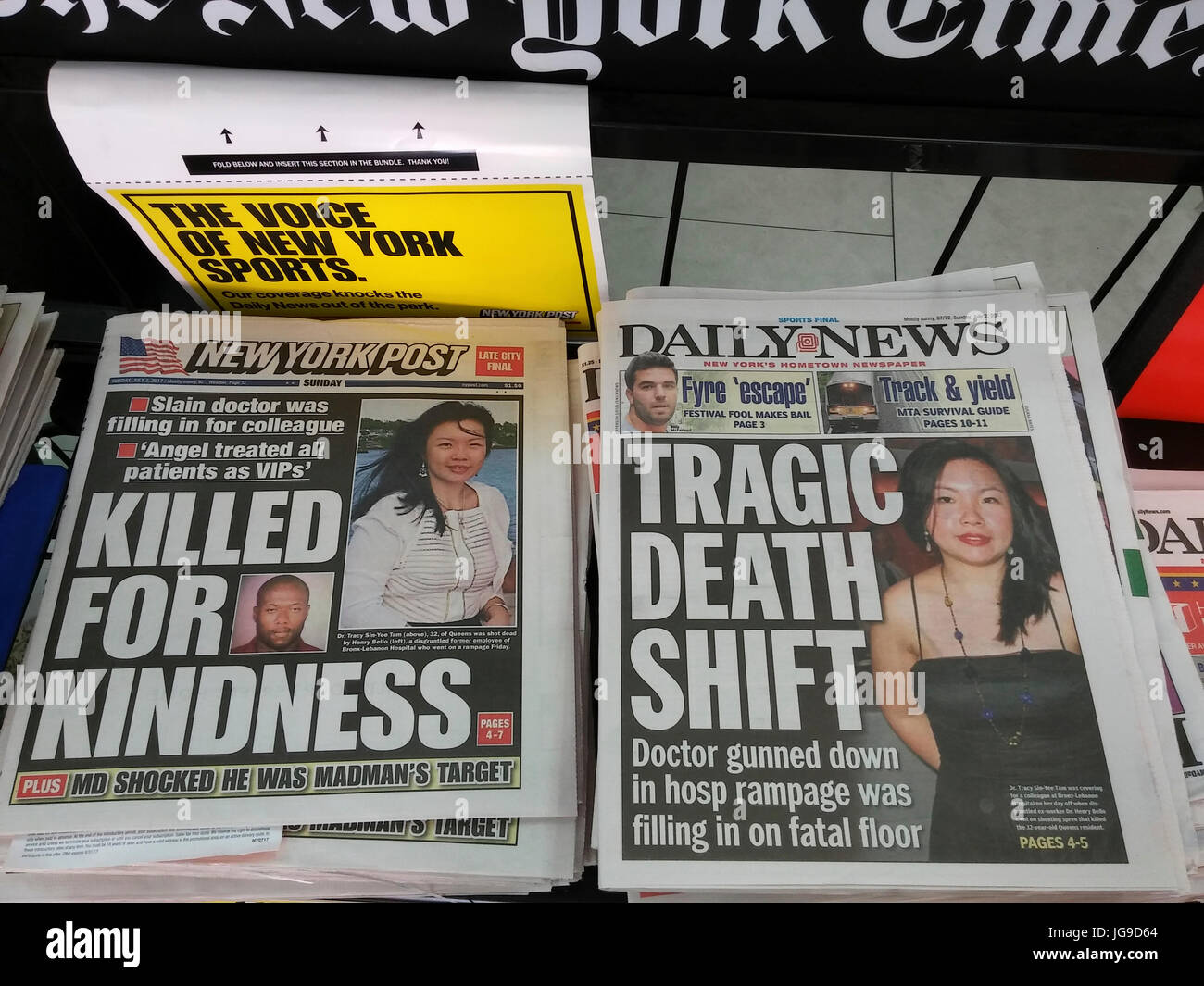 New York tabloid newspapers on Sunday, July 2, 2017 report on the death do Dr. Tracy Sin-Yee Tam in the shooting - Stock Image
