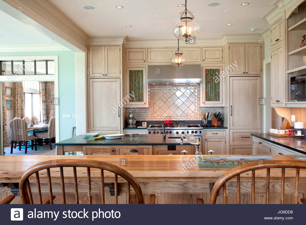 Large Country Kitchen, Open Plan, Pendant Lights, Open Shelving, Soapstone  Counters, Wolf Double Oven Range