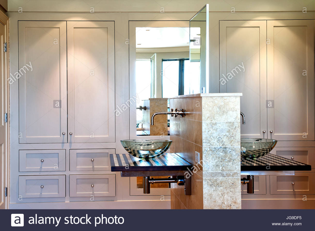 Large bathroom 2 glass vessel sinks back to back custom storage closets and drawers & Large bathroom 2 glass vessel sinks back to back custom storage ...