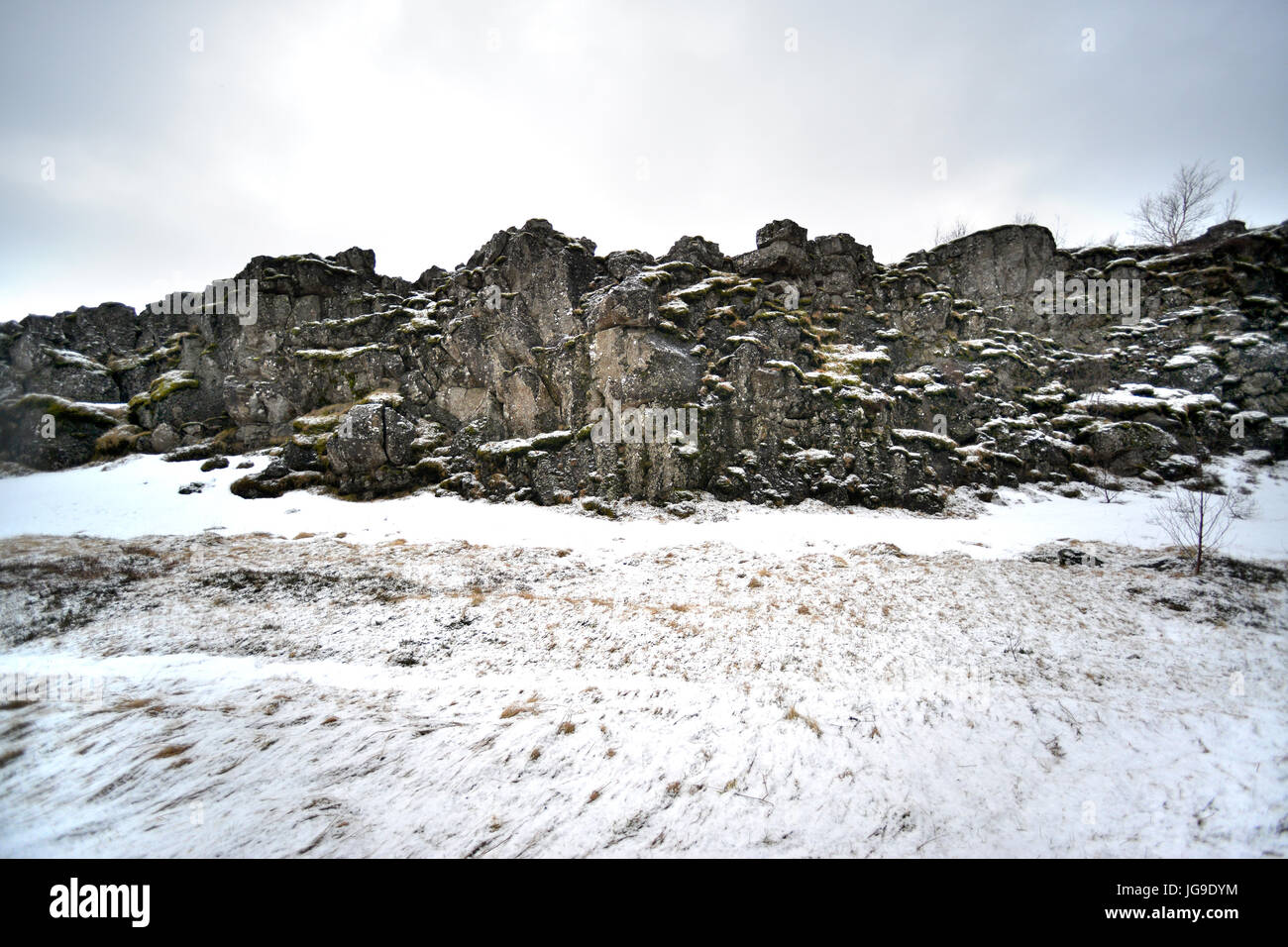 Þingvellir (Thingvellir) national park, Iceland, the boundary of the Eurasian and North American tectonic plates - Stock Image