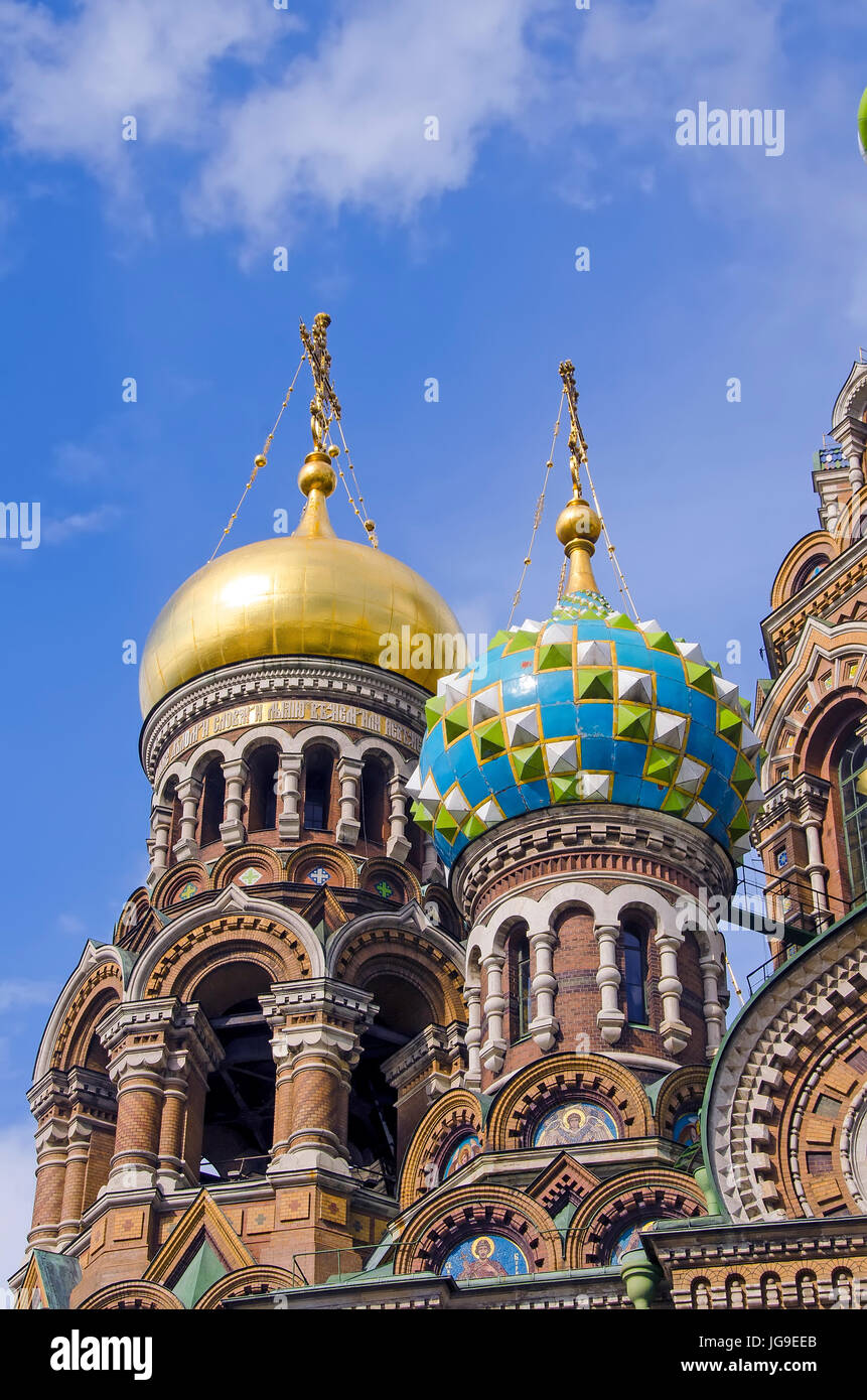 Onion domes of Church of the Resurrection of Christ, also known as Church on the Savior of Spilled Blood, St. Petersburg - Stock Image