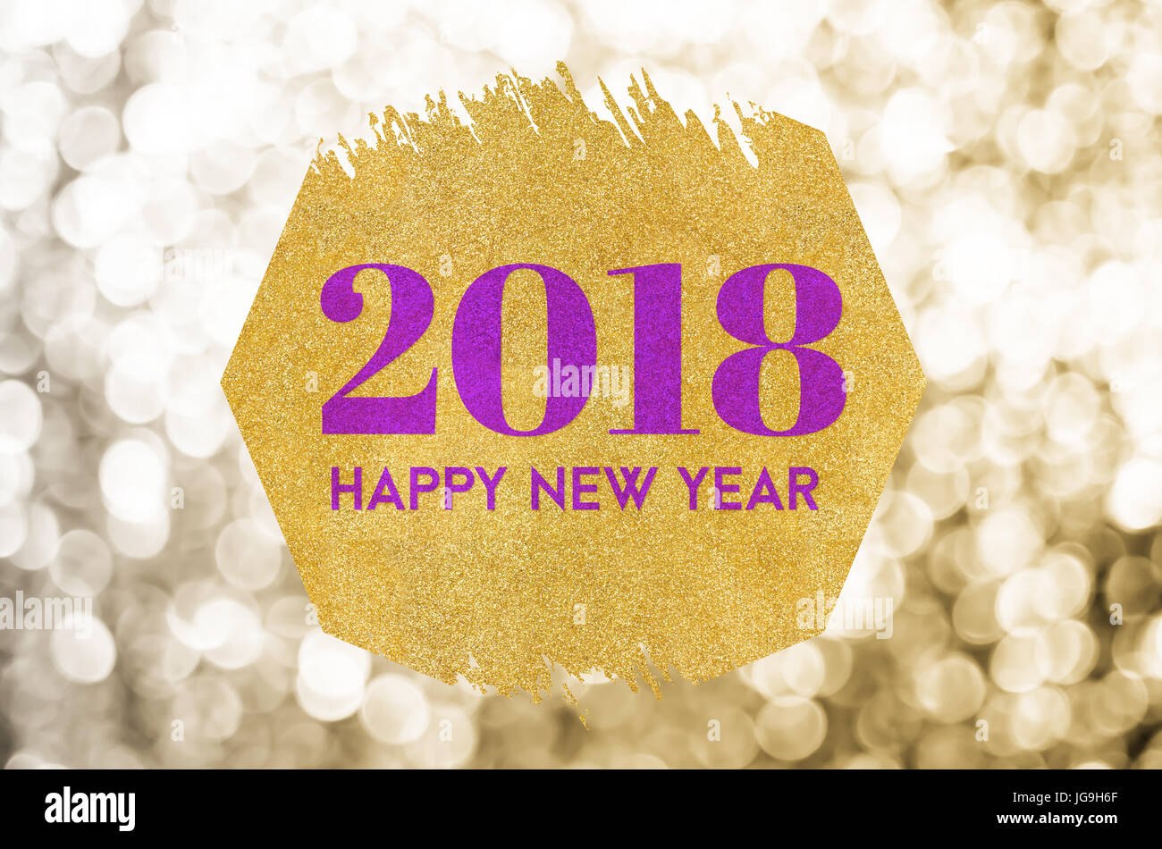 happy new year 2018 word on gold octagon glitter on gold sparkling bokeh lights backgroundholiday greeting card