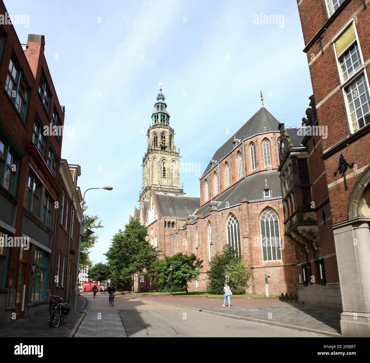 Late Medieval Martini church & tower in the city center of Groningen, The Netherlands, (stitched image). Stock Photo