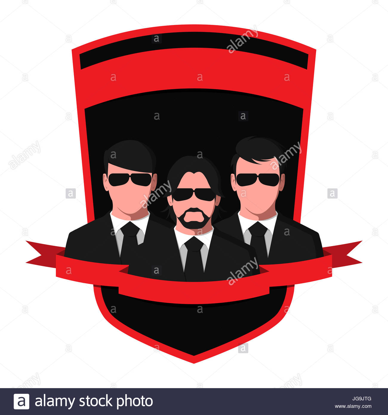 Silhouettes of people in black suits and glasses. Emblem of a detective agency isolated on white background. Spy - Stock Image