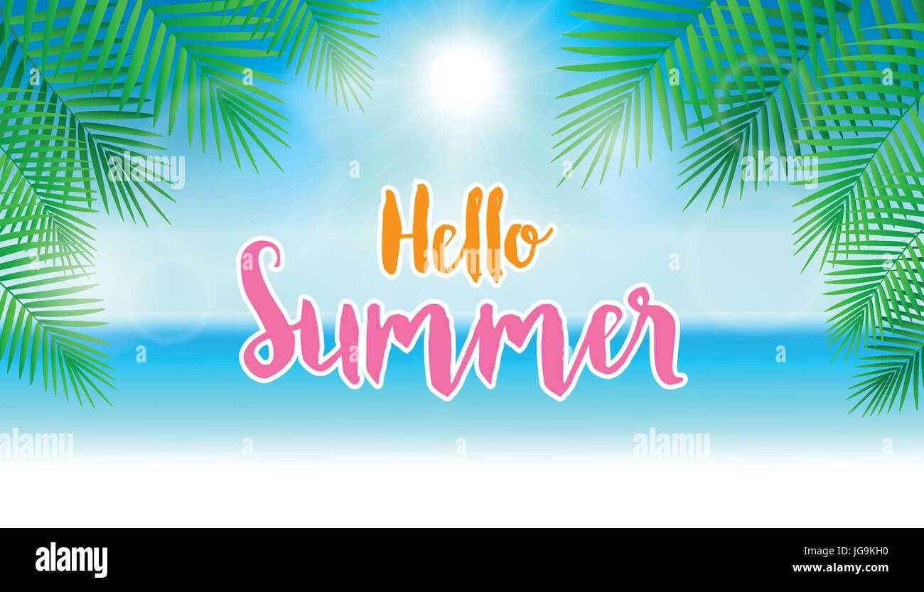 Hello Summer Concept. Summer Background With Blue Sky And Palm Leaves.  Design For Banner, Voucher Discount, Invitation Card, Backdrop