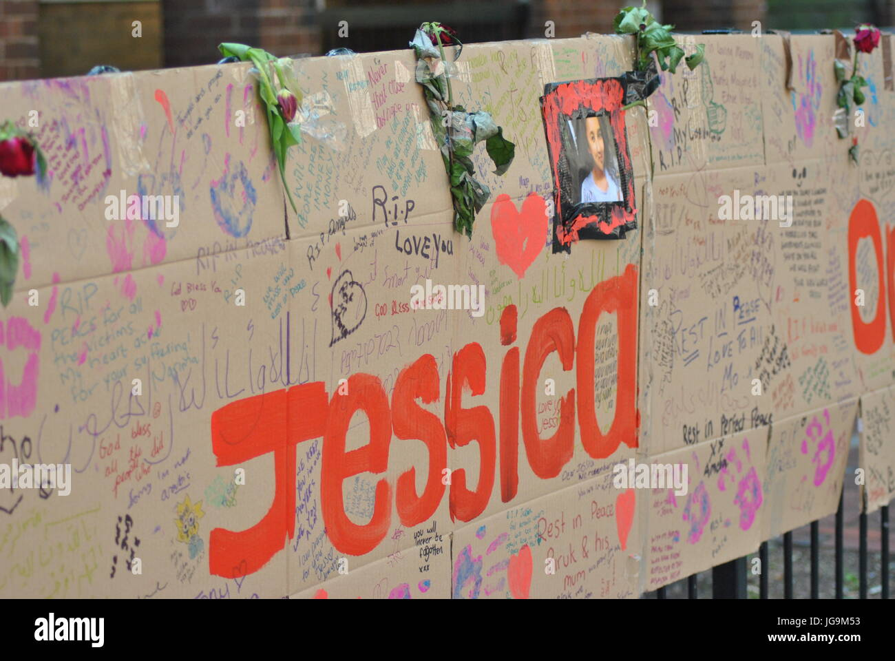 The Missing Messages Left by the community, Grenfell Fire Disaster which occured 14th June 2017, Photograph taken - Stock Image