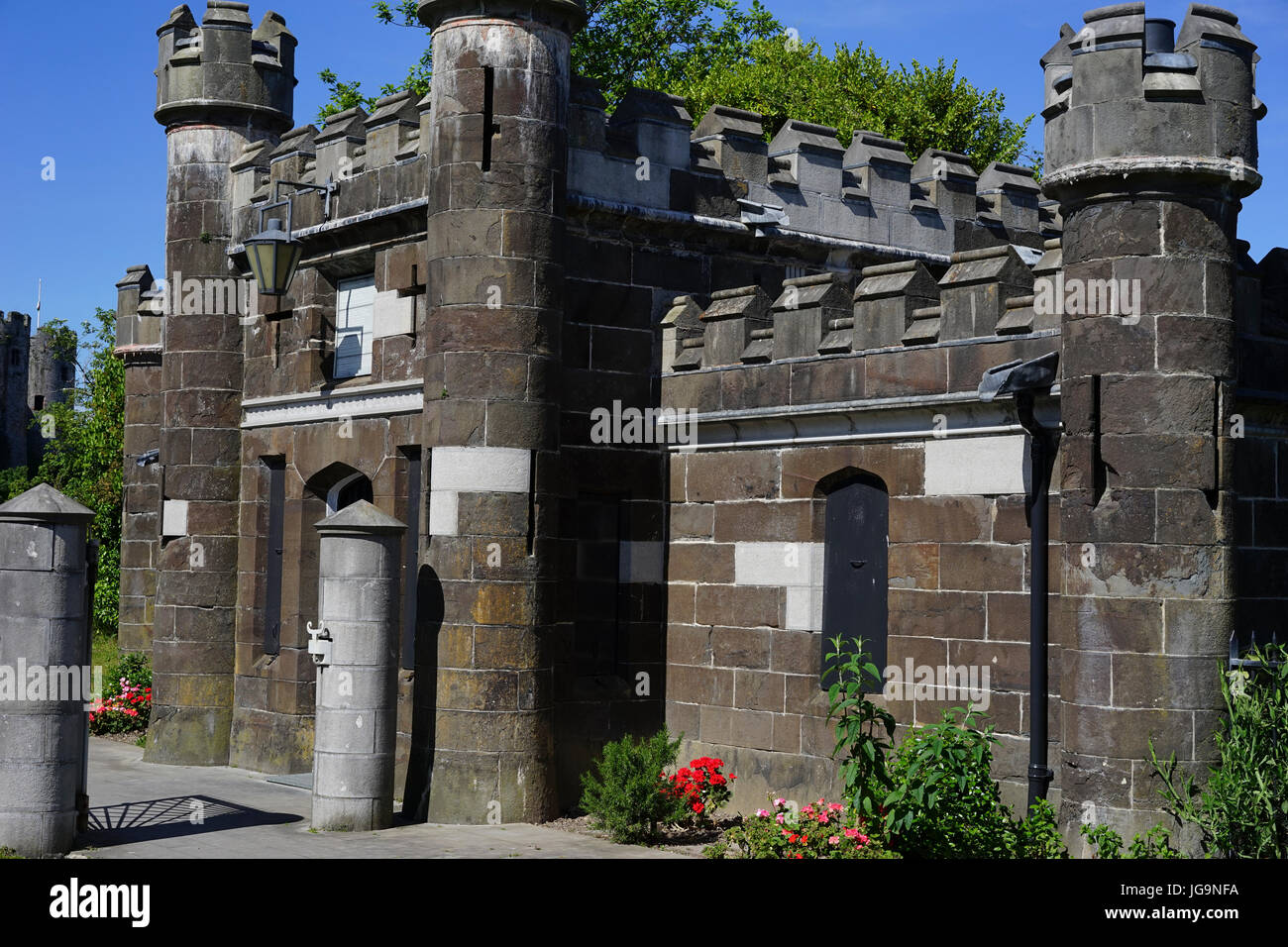 The Toll Keepers House on the Conwy suspension bridge at Conwy, Gwynedd, North Wales, UK. Stock Photo