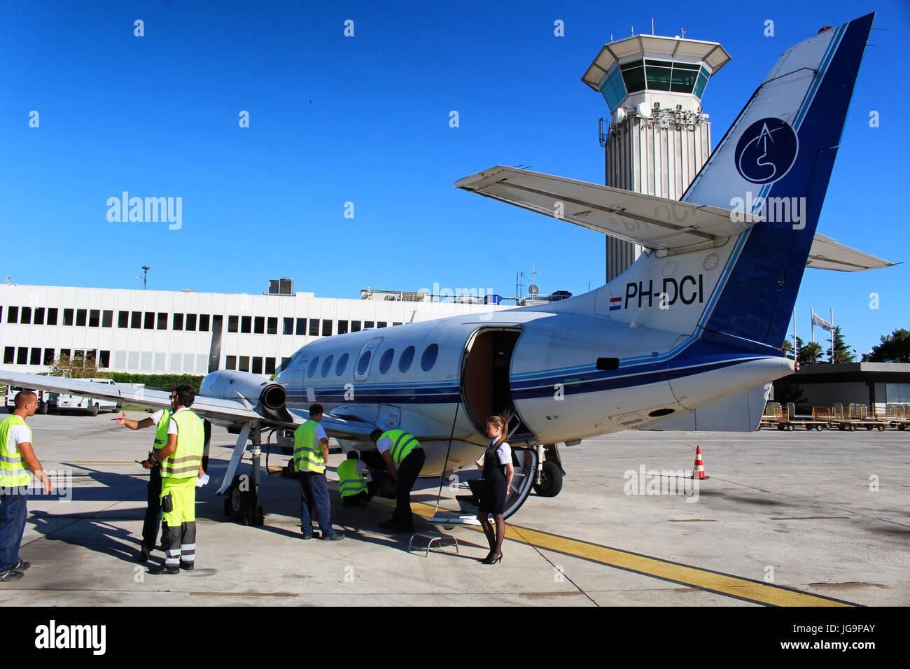 SPLIT/CROATIA - 29 JUNE 2017: A British Aerospace Jetstream 32 by Trade Air ready to operate a flight for croatian - Stock Image