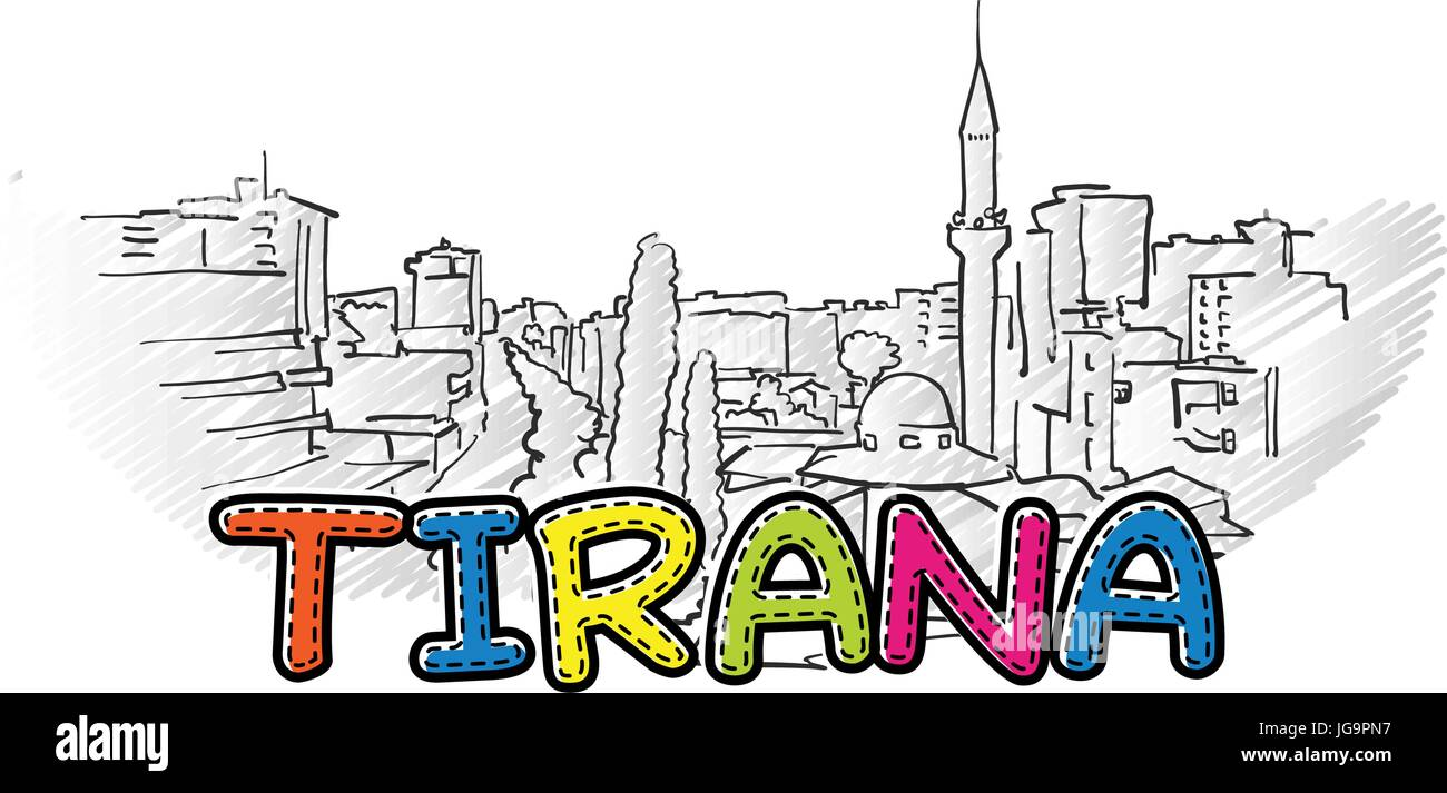 tirana beautiful sketched icon, famaous hand-drawn landmark, city name lettering, vector illustration - Stock Vector