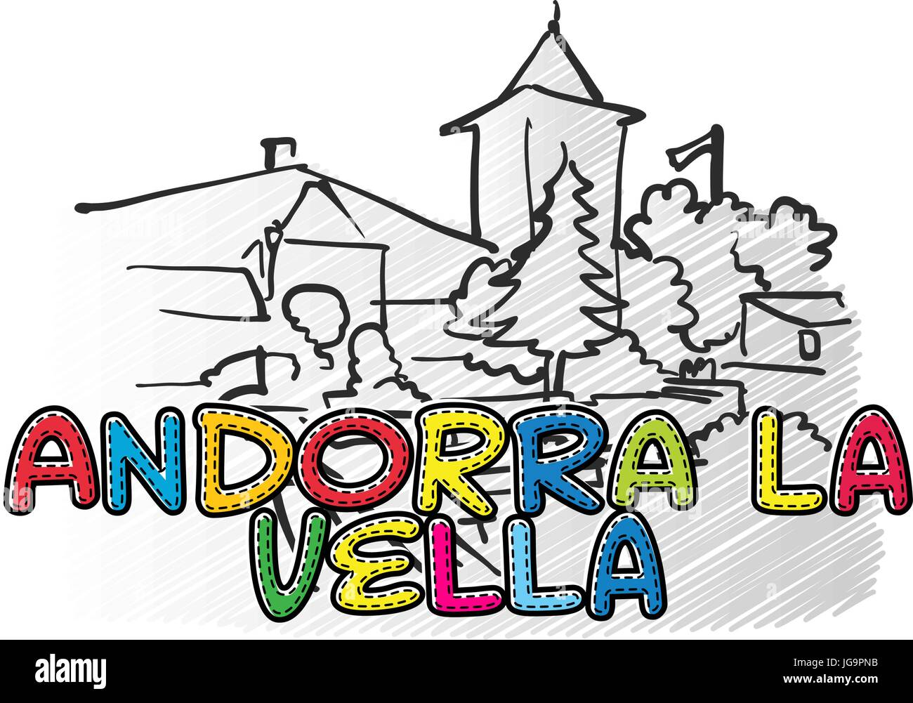 Andorra la vella beautiful sketched icon, famaous hand-drawn landmark, city name lettering, vector illustration Stock Vector